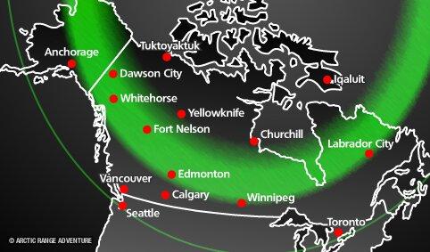 De noorderlichtcirkel geeft de beste plekken aan waar je het Noorderlicht in Canada kunt zien.