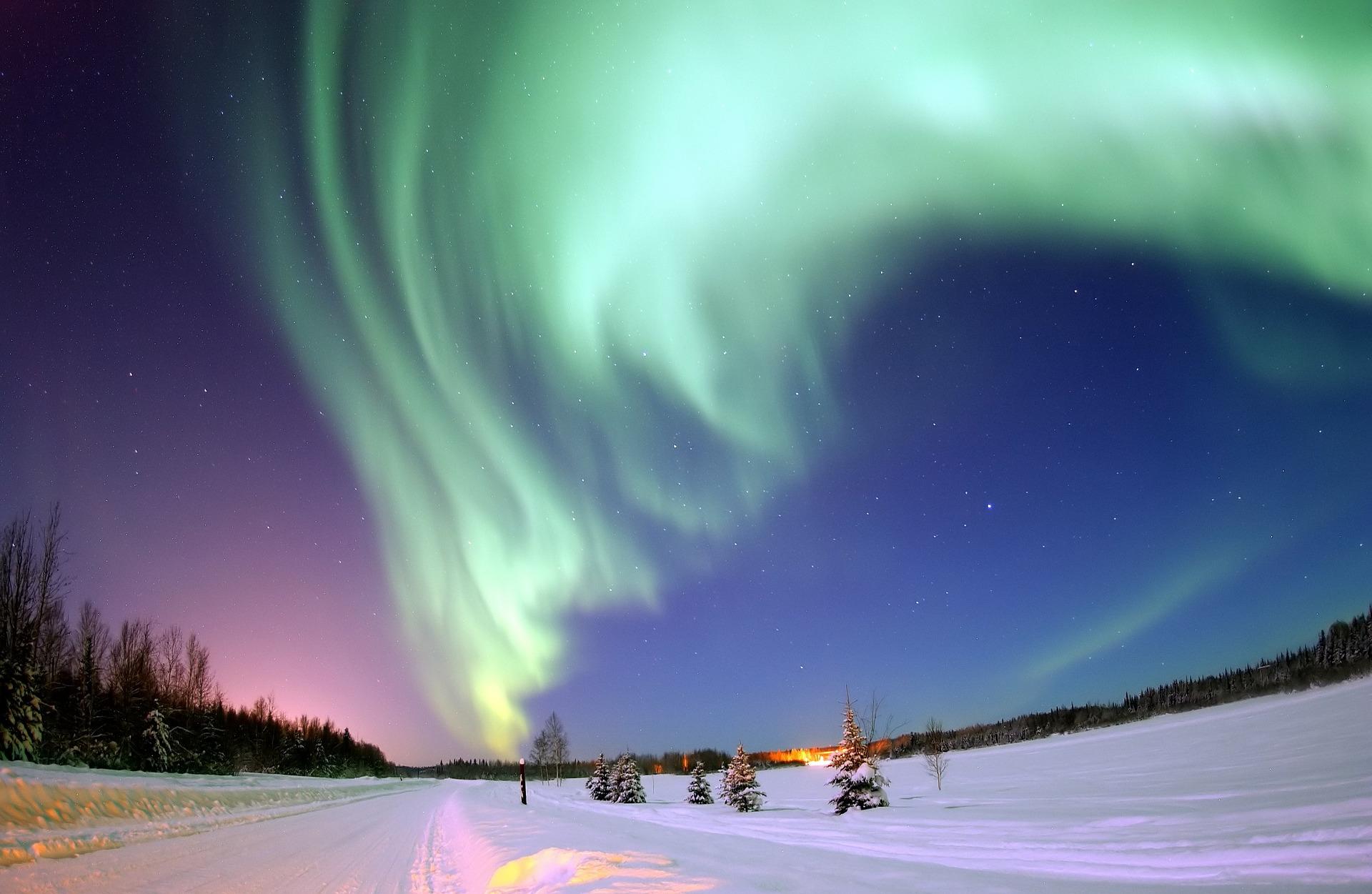 Het noorderlicht zien in Canada in de winter in de sneeuw.
