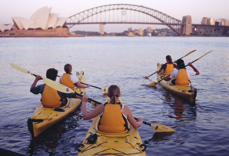 Drie gele kajaks in de Sydney Harbour met de Sydney Harbour Bridge en opera house op de achtergrond.